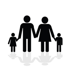 family happy silhouette vector image vector image