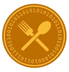 fork and spoon digital coin vector image vector image
