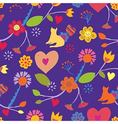 Funny seamless floral pattern with cat vector image