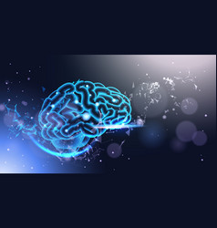 Glowing human brain on poligonal background with vector