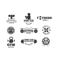 Gym fitness symbols set vector image vector image