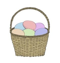 Hand-drawn basket vector image