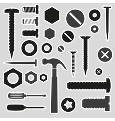 Hardware screws and nails with tools stickers vector