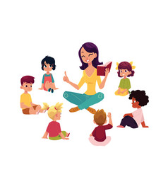 kindergarten kids listen to teacher reading a book vector image vector image