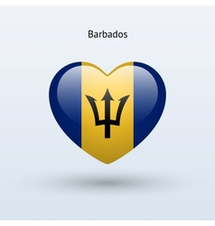 Love barbados symbol heart flag icon vector