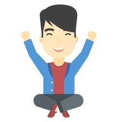 Man sitting with crossed legs and raised hands up vector image