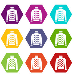 men sweater icon set color hexahedron vector image vector image
