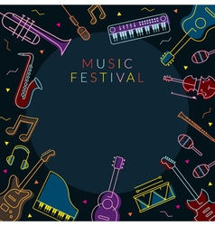 Music instruments objects frame line design vector