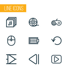 music outline icons set collection of music vector image