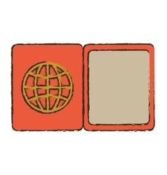 Passport document inmigration travel color sketch vector