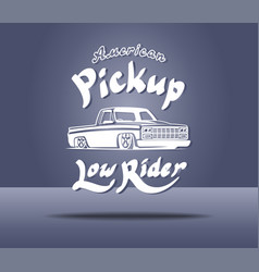 Pickup truck lowrider logo template vector