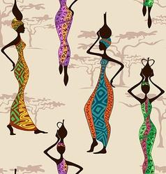 Seamless pattern of african women vector