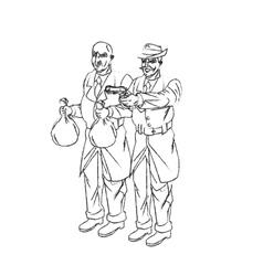 Thief cartoon with money bag and gun design vector