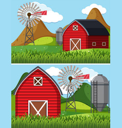 Two farm scenes with red barn vector