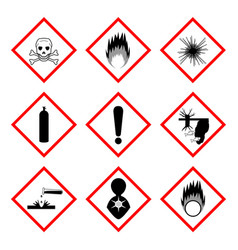 Warning labels of chemicals - icon set vector