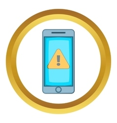 Warning notification on phone icon vector