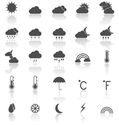 Weather icons with reflect on white background vector image