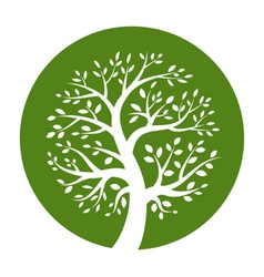 White tree icon in green round vector