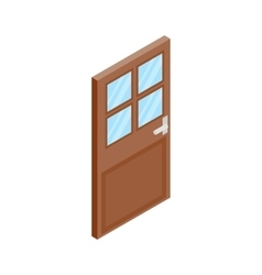 Wooden door with glass icon isometric 3d style vector