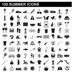 100 summer icons set simple style vector image
