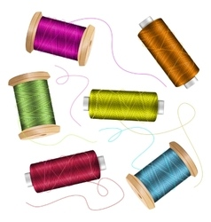 Thread Spool Set Background For Needlework And vector image