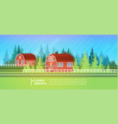 Farm house barn building field farmland vector