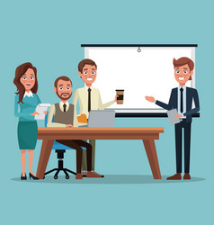 Color background teamwork executive in desk for vector