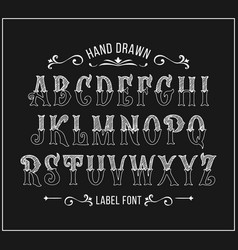 hand drawn letters alphabet in victorian style vector image