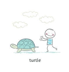 Tortoise and the people vector
