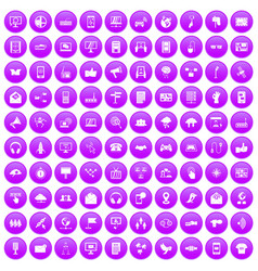 100 communication icons set purple vector image