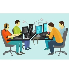 People working at the desk vector