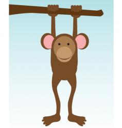Monkey hanging on tree vector