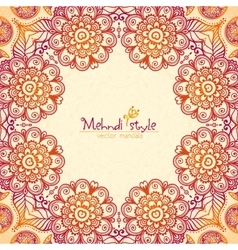 Vintage ethnic square floral frame in indian vector