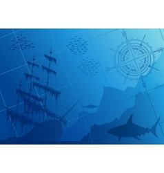 Underwater background with sharks vector