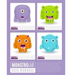 Monstrolab cute madness set of cartoon vector