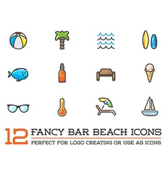 Set of beach sea bar flat icons elements and vector