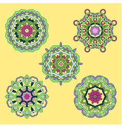 Set from five round abstract ornament vector