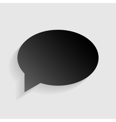 Speech bubble icon black paper with shadow on vector