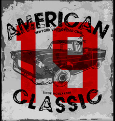 american classic car vintage race car for vector image vector image