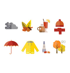autumn clothes set the fall treeclouds cold vector image vector image