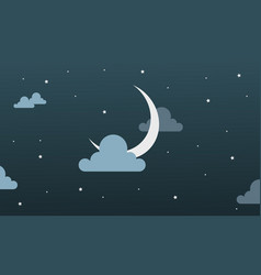 Background beauty sky moon star and cloud vector
