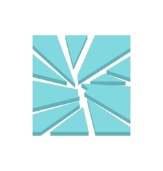 Broken glass icon flat style vector image