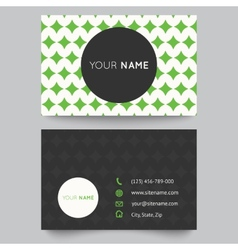 Business card template green and white pattern vector image vector image