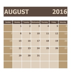 Calendar august 2016 week starts from sunday vector
