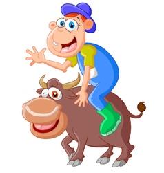Cartoon bull with riding men vector