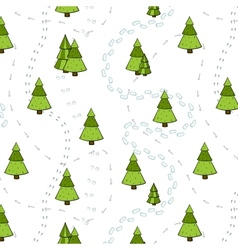 Christmas trees and tracks seamless pattern vector