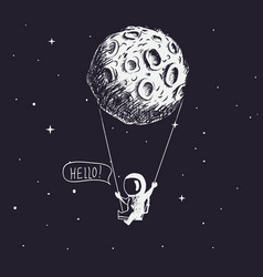 Cute astronaut riding a swing tethered to the moon vector