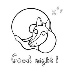 cute cartoon sleeping fox vector image vector image