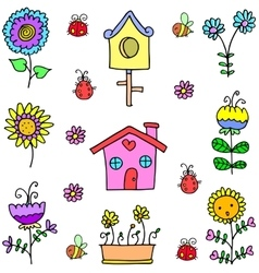 Doodle of spring house flower vector