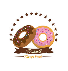 Emblem donut bakery with ribbon and stars vector
